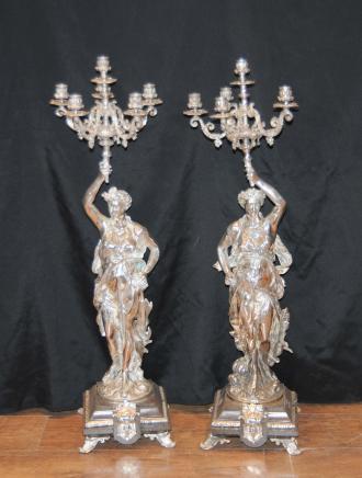 3 ft Französisch Silver Plate Gregoire Candelabras Freiheit New York
