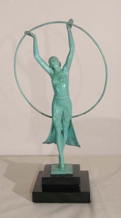 Art Deco Bronze Band-Mädchen-Statue von Charles Sykes 1920
