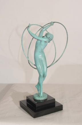 Art Deco Bronze Figur 1920er Female Band-Tänzer