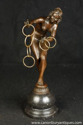 Art Deco Bronze Hoop Dancer Unterzeichnung Colinet Nude Figurine