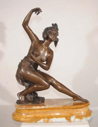 Art Deco Bronze Statue ägyptischen Tänzer von Gori