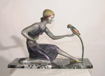 Art Deco Chiparus Parrot Mädchen Harz Bronze Figur Statue