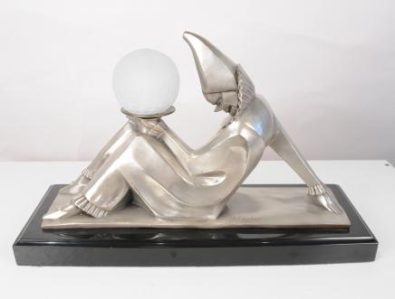 Bronze Art Deco Clown Statue Lamp von Bourraine Harlequin Figurine Licht