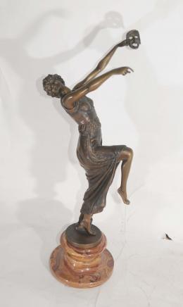 Bronze Deco Maske Tänzer Figurine Unterzeichnung Descomps