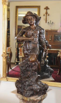 Bronze Fisher Boy Garten-Statue Abbildung Kunst