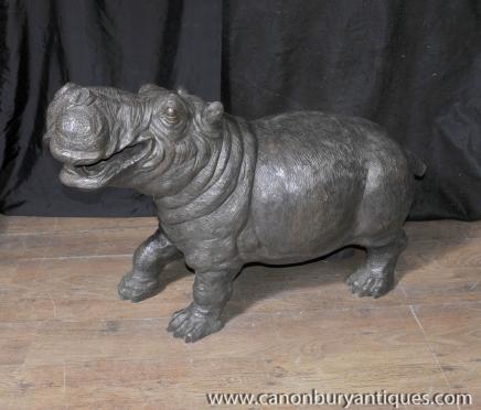 Bronze Hippo Nilpferd Brunnen Skulptur Statue Architektur Garten
