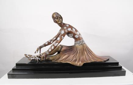 Chiparus Art Deco Bronze Ballet Dancer Französisch 1920er Statue Figurine