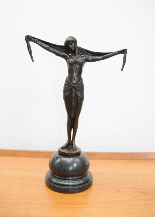 Dh Chiparus Französisch Deco Bronze Tänzerin der 1920er Jahre