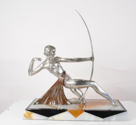 Französisch Art Deco Bronze Diana Archer Statue Figurine-Bogen-Pfeil