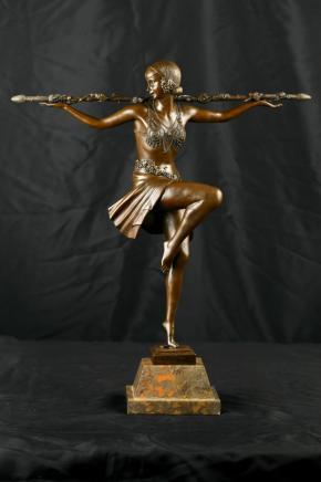 Französisch Art Deco Bronze Figur Mädchen Tanzen
