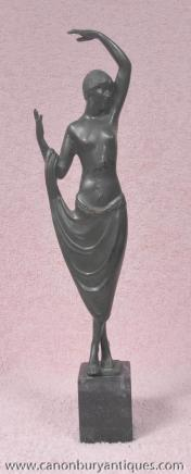 Französisch Art Deco Bronze Figur Statue Odaliske