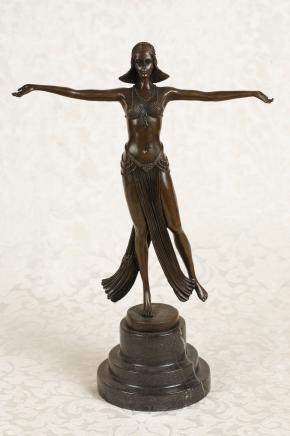 Französisch Art Deco Bronze Figur signiert Descomps Statue