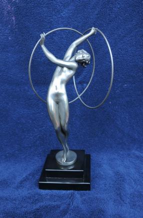 Französisch Art Deco Bronze Statue Figurine Hoop Dancer