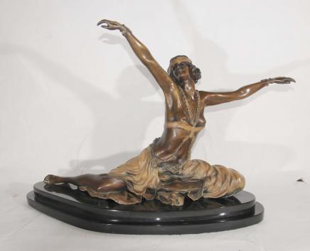 Französisch Art Deco Bronze Tänzerin signiert Thebian Colinet