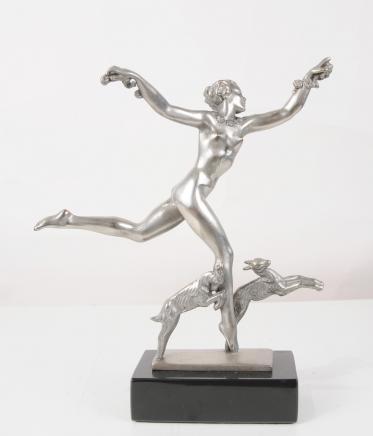 Französisch Bronze Art Deco Figur Ziege Tänzer Statue