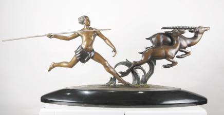 Französisch Bronze Art Deco Hunter Statue Gazelle Figurine von Alex Kelety