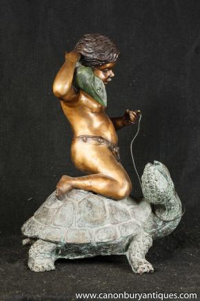Italienisch Bronze-Engel-Turtle-Brunnen Wasserspiel Gartenkunst