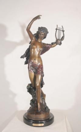 Klassische Bronze-Statue Figurine Casting Harp Girl von Moreau