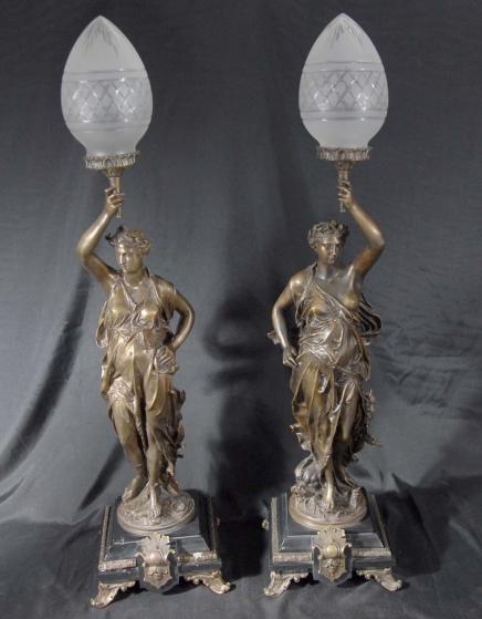 Paar Bronze Lichter Unterzeichnung Gregoire Statue Freiheit Torcheres Lampe