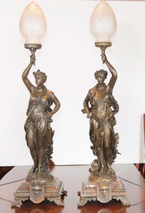 Paar Kerzenleuchter Bronze Gregoire Französisch Lichter Unterzeichnung