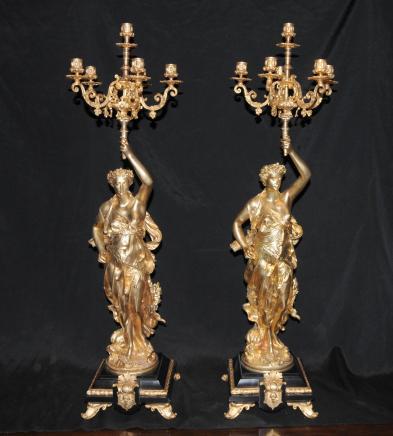 Paar Kerzenleuchter Bronze signiert Gregoire Französisch Torcheres