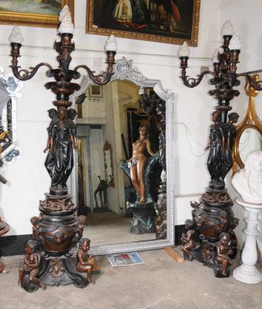 Paar XL Bronze Maiden Lampen Leuchten Kerzenleuchter Architektur Torcheres