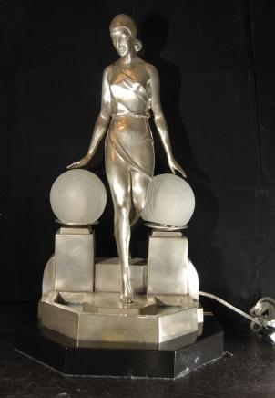 Silber Bronze Deco Biba Lampe Licht Figur Statue