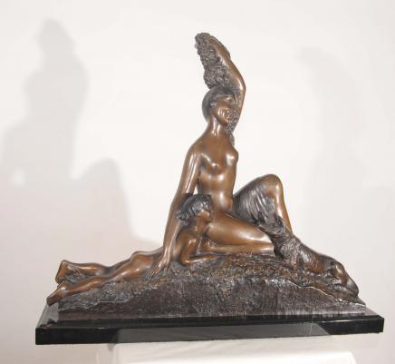 XL Bronze Art Deco Statue nackte Frau Barsoi Hund Boy