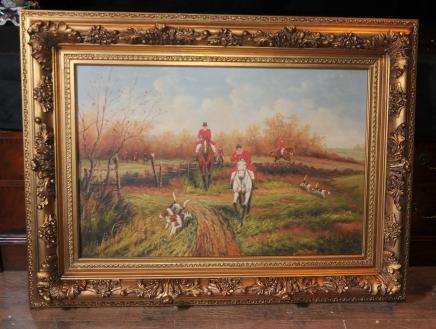 Ölgemälde Fox Jagd-Szene Jagd Pferdeviktorianische Kunst Unterzeichnung