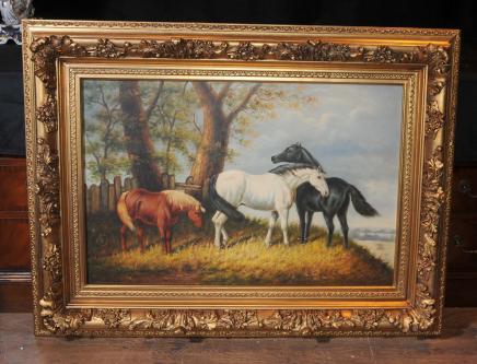 Ölgemälde Pferde englischen viktorianischen Kunst Gilt Frame