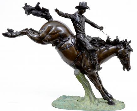 3,5 m Bronze amerikanischen Cowboy Reiten Pferd