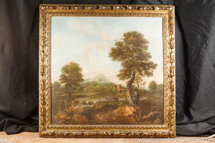 Antiken italienischen toskanischen Landschaft Ölgemälde des 18. Jahrhunderts Pastoral Ruine