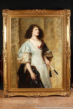 Antiken viktorianischen Ölgemälde Lady Herzogin Portrait 1860