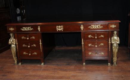 Antique Französisch Reich Pedestal Schreibtisch Schreibtisch Büro