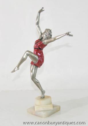 Art Deco Bronze Tänzerin Figurine von Colinet