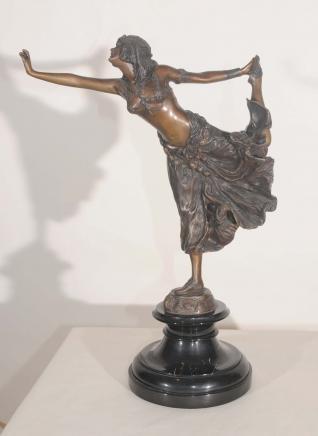 Art Deco Bronze Tänzerin Krim-Figurine Unterzeichnung Colinet Französisch