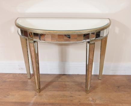 Art Deco Gespiegelte Konsolentisch Halbmond Tabellen