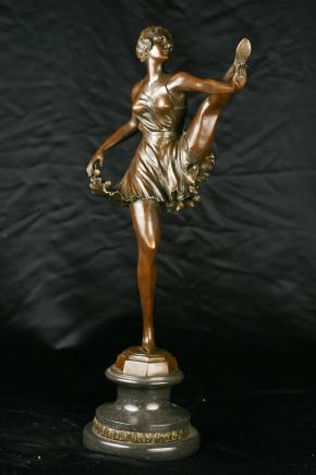 Bronze Bruno Zack Unterzeichnung Tanzen Deko Figur Mädchen Can Can Tänzerin