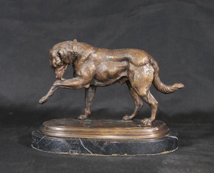 Bronze Englisch Bulldogge Unterzeichnung Chemin Hunde