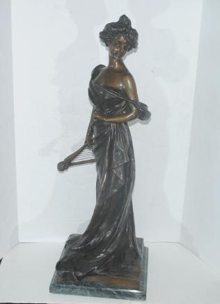 Bronze Harfe Mädchen Figur Statue Unterzeichnung Van Dresteraten Lyre