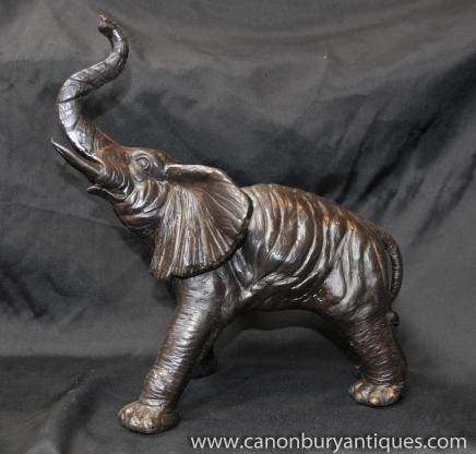 Bronze Statue Lade Afrikanischer Elefant Elefanten Tierkunst