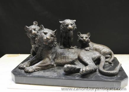 Bronze Statue Tiger und CUB Lions Tiere Casting