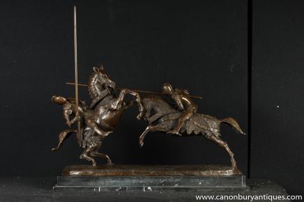Bronze Statue englischen Ritter Ritterspiele Pferde Schlacht Bronze Medieval