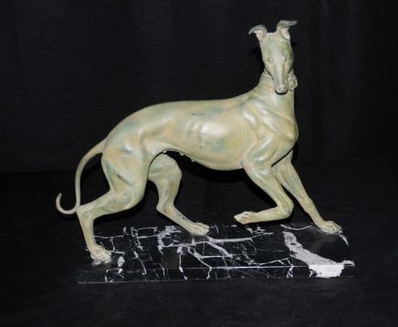Bronze Windhund-Hunde Art Deco Statue Casting Hunde