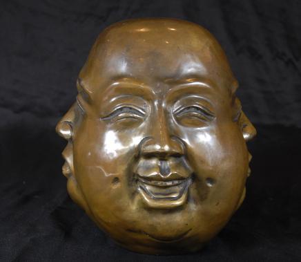 Bronze chinesischen Buddha-Kopf Büste buddhistischen Eastern Art