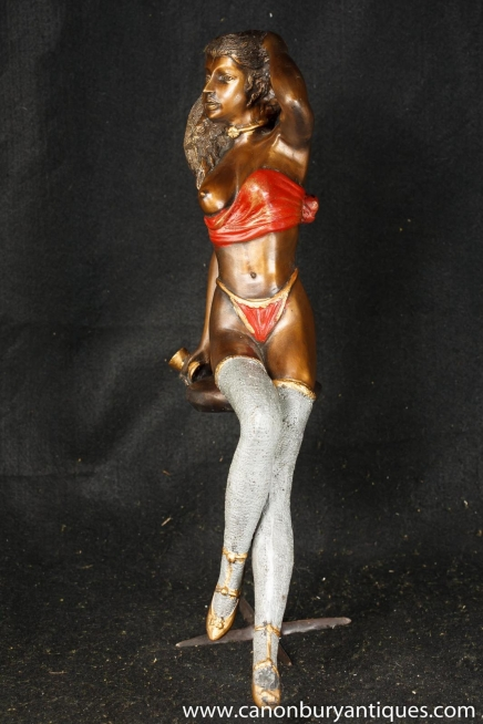 Bronze halb Akt Erotische Frau Figur Statue Sexy Kunst