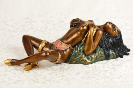 Bronze nackte Frau-Figur Sexy Burlesque-Tänzer-Mädchen Nackt Erotik Kitsch