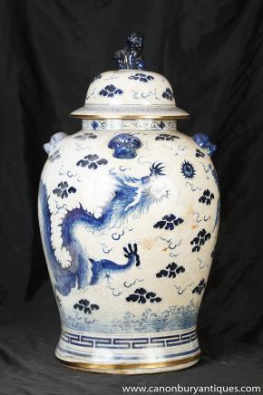 Chinesische Kangxi-Blau und Weiß Porzellan Urne Ingwer-Glas
