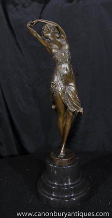 Colinet Deco Bronze halb nackte Figur Tänzer