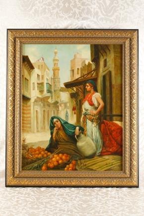 Deutsch-Ölgemälde arabischen Casbah Female Portrait Porzellan KPM-Plakette